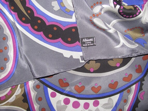 Vintage Basile Silk Scarf - Large Grey Scarf with Paisley Pattern - Hand Rolled Hems