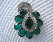 Vintage Green and Clear Crystal Flower Brooch
