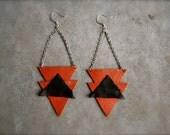 80's navajo fun shaped leather earrings