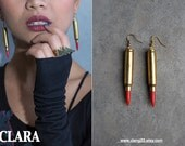 brass bullet earring with red howlite stone