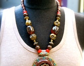 SALE brown and beautiful tibetan inspired necklace