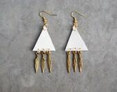 white vinyl triangle earrings