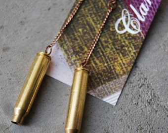 dangle brass bullet earring