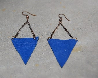 Blue leather triangle earrings