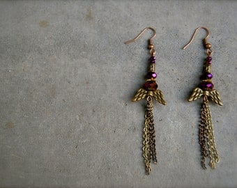 fly with me antique wing and chain earrings