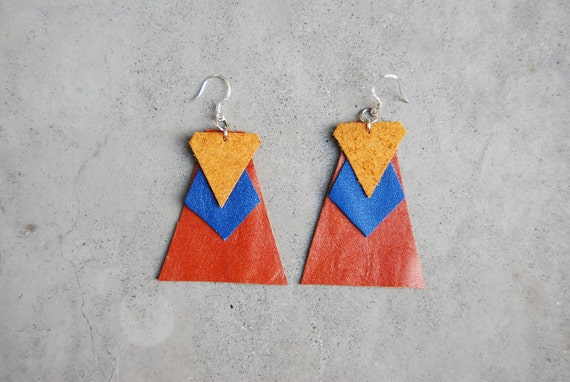 80s inspired leather earrings
