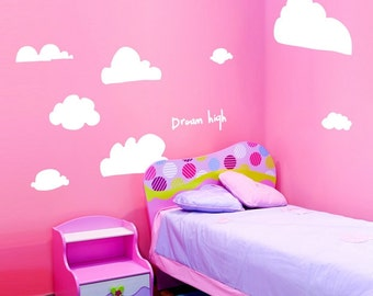 SALE Dream High Kawaii Clouds Removable Wall art decals - Original Illustration
