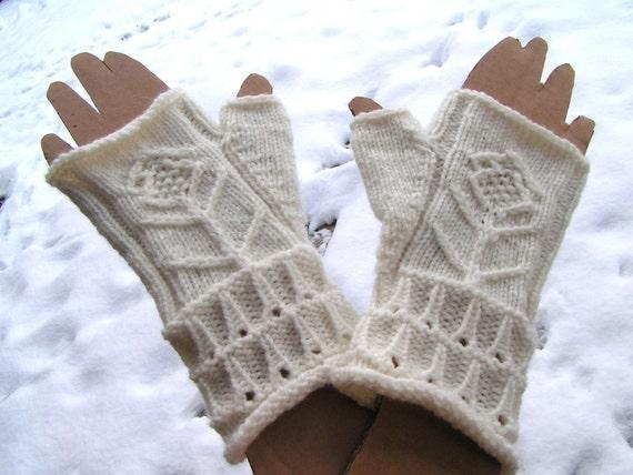 Fingerless Gloves, handmade, white with Flower