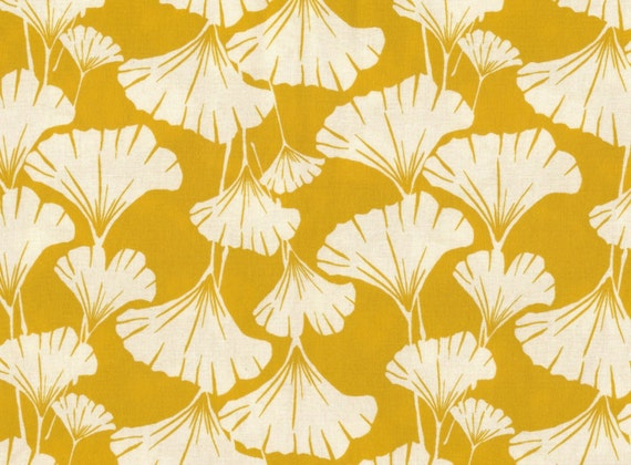 ginkgo leaves print fabric -mustard yellow-one yard-quilting weight cotton