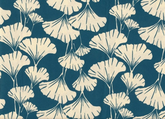 ginkgo leaves print fabric-teal blue-fat quarter -quilting weight cotton