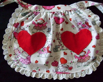 Little Girls Heart Pockets Valentines Day Party Half Apron