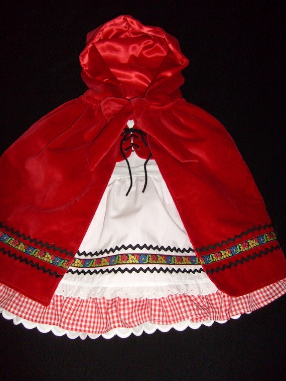 OOAK Boutique Oktoberfest Inspired Dirndl Little Red Riding Hood Costume Party Dress Cape Apron Vest Outfit Set Size 3