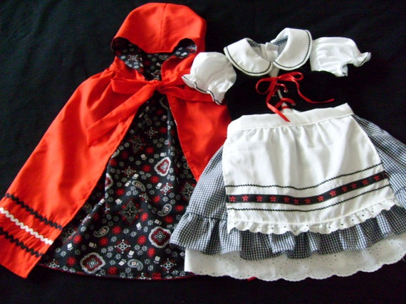 OOAK Boutique Oktoberfest Inspired Dirndl Party Dress Reversible Vest Apron Cape Outfit Little Red Riding Hood Costume Set Size 4