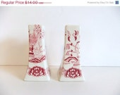 HOLIDAY SALE Vintage Red Willow Ware Salt and Pepper Shakers