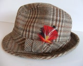 Mens vintage Hat, Hounds Tooth Hat