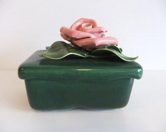 Vintage Ceramic Soap Dish, Trinket Box,  Pink Rose