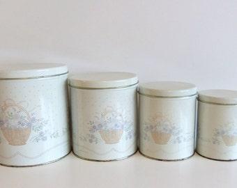 ON SALE Vintage Canister Set -  Round Metal Beige or Ivory Flowered Canister Set - Pastel soft colors - retro