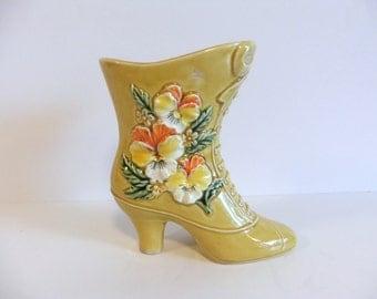 ON SALE Vintage Floral Shoe Vase by Napcoware Japan