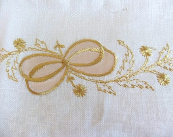 Vintage Linen Napkins and placemats Gold embroidery