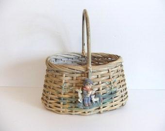 Vintage Basket, Boy and sheep, Shower Card Holder, Flower Basket, Wedding Basket Shabby Chic