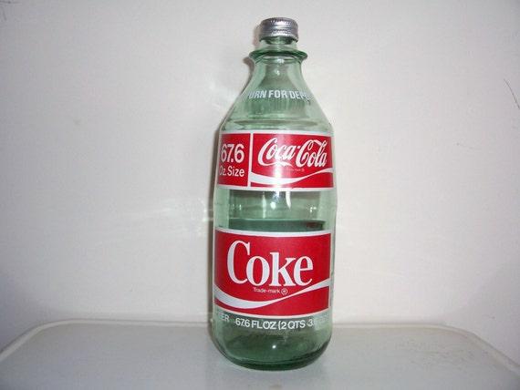 Vintage Glass 2 Liter Coke bottle with Cap