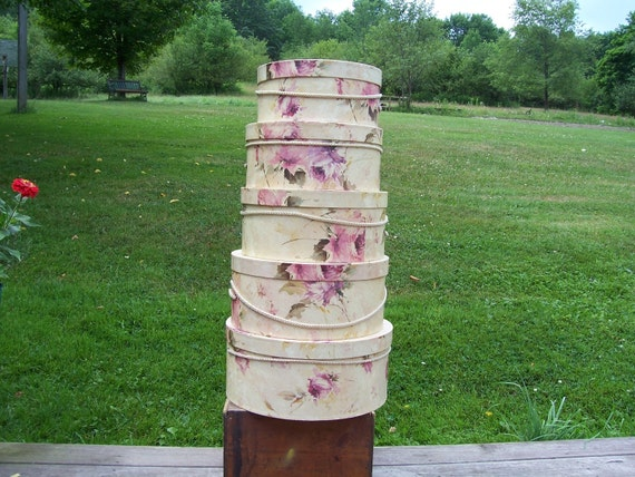 Round Nesting Boxes, Stacking boxes, Hat boxes