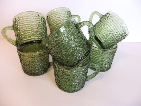 Vintage Olive Green Glass Cups, Mugs