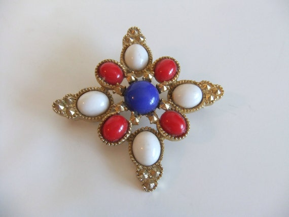 Vintage Star Brooch - Sarah Coventry Brooch - Red White Blue Brooch