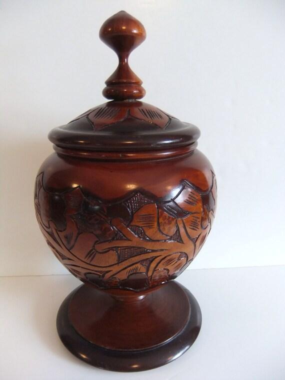 Vintage Large Handmade Wood Jar