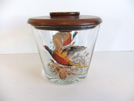Vintage Humidor Glass with Wooden Lid