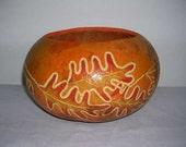 Carved Leaves - Handmade Gourd Bowl