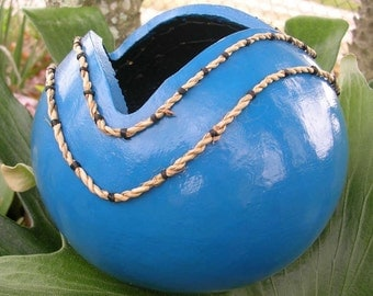 Turquoise Fun - Handmade Gourd Bowl