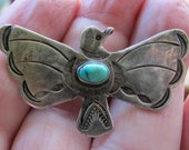 CLEARANCE PRICED Antique Silver Old Pawn Dove or Bird Brooch with Turquoise, Fred Harvey Style Native American Made