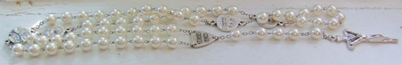 Vintage Sterling Silver and Pearl Rosary with Beautiful Cultured Pearls