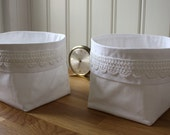 white on white -fabric basket, set of 2