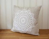 pillow cover 16x16 inhes, linen and lace collection no. 9