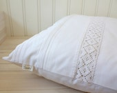 pillow cover 50 x 50cm with hand-embroidered initials MJ