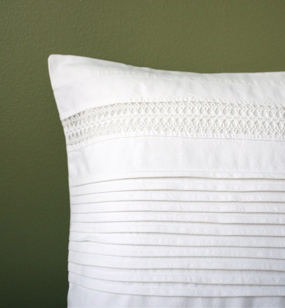 Pillow Cover with Vintage Lace Trim, Diamond