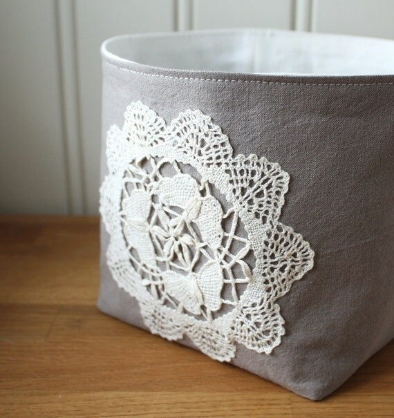 Linen and Lace Fabric Basket