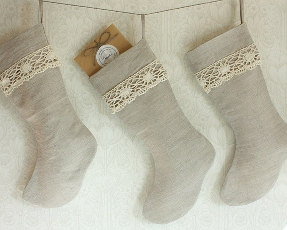 linen and lace -christmas stocking