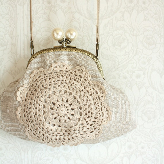 purse with vintage crocheted lace, linen