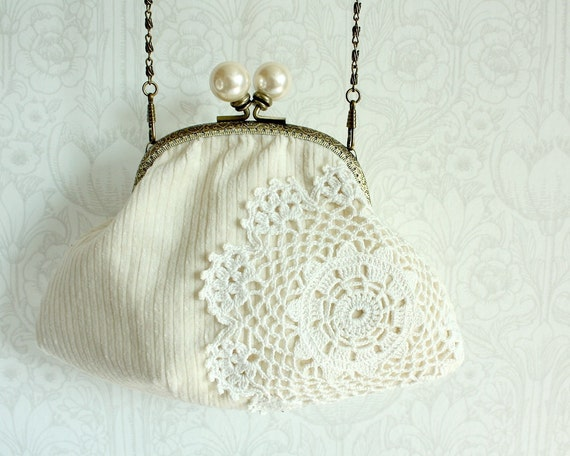 purse with vintage lace doily, white on white