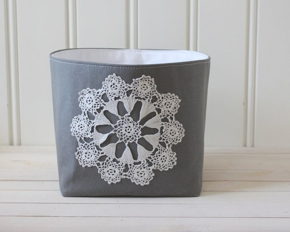 small storage bin, grey and white