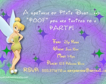 Tinkerbell Customizable Birthday Invites OR Thank you's