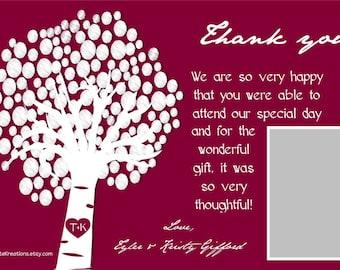 Customizable DIGITAL Wedding Thank you cards-Tree