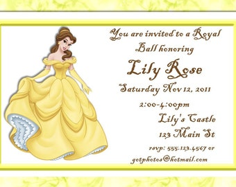 Beauty and the Beast's Belle Birthday Party Invitiation-Digital File
