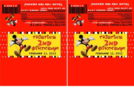 Mickey Mouse Striped Candy Bar Wrappers-DIGITAL- check out the invitations and water bottle wrappers too