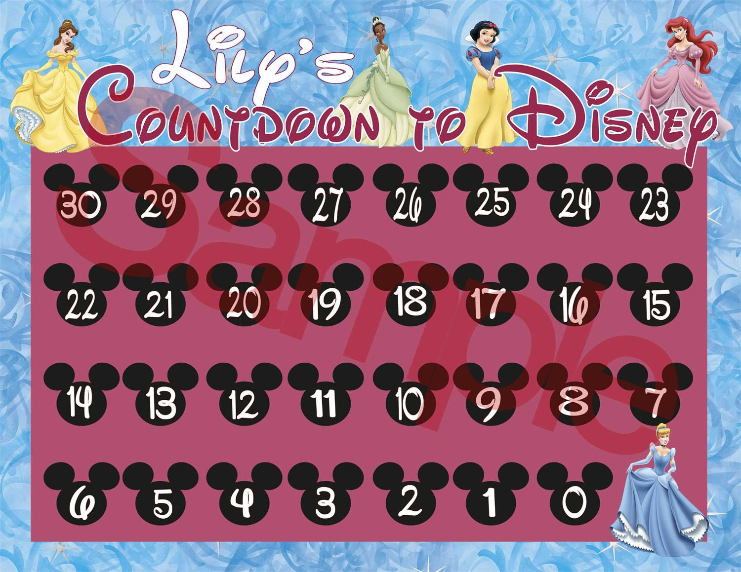 Countdown to Disney Calendars-Princesses by KristysKuteKreations
