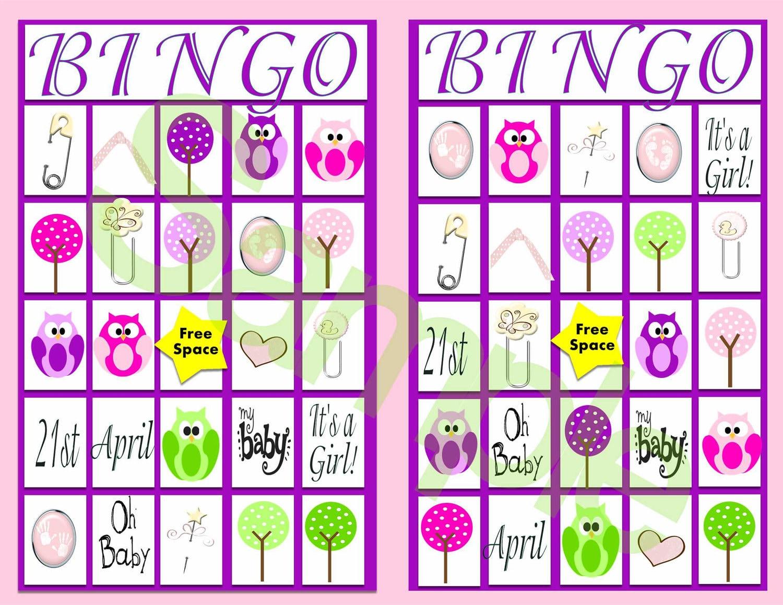 Pink Purple Baby Shower Bingo Game with Owls-DIGITAL-10 Game