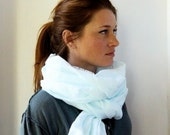 Frayed Linen Scarf in Robins Egg-Free US Shipping